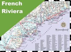 Map of French Riviera with cities and towns Maps Pinterest