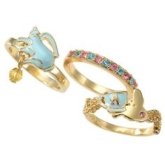 Alice in Wonderland 3 Piece Ring Set