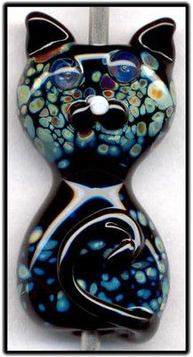 Black Raku Cat Focal Handmade Glass Lampwork Bead Handmade SRA W79 :) ♥♥♥