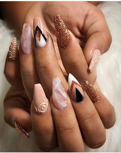 73 Best Stunning Long Coffin Nails Design 💅 You May Try For Prom And Wedding 😘 - Long Coffin Nail Idea 12 😘 💋𝙄𝙛 𝙔𝙤𝙪 𝙇𝙞𝙠𝙚, 𝙅𝙪𝙨𝙩 𝙁𝙤𝙡𝙡𝙤𝙬 𝙐𝙨 Meral Ozturk 💋 💖 💖 💖 💖 Glam Nails, Classy Nails, Stiletto Nails, Trendy Nails, Cute Nails, Elegant Nails, Classy Nail Designs, Nail Art Designs, Nails Design