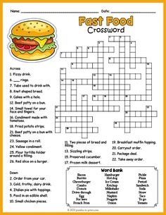 Fun printable worksheet for ELA or ESL students features 27 fast food vocabulary words to identify. Free Puzzles For Kids, Free Worksheets For Kids, English Worksheets For Kids, Free Printable Crossword Puzzles, Free Printable Worksheets, Free Printables, Food Vocabulary, Vocabulary Worksheets, English Vocabulary