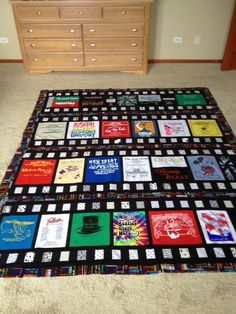 Movie quilt made from theatre tee shirts.