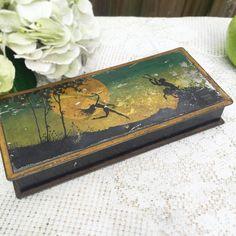 Rare Antique At Nouveau tin litho box Fairies by WonderCabinetArts