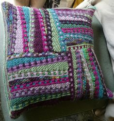 Gorgeous short row knitted cushion in a patchwork style