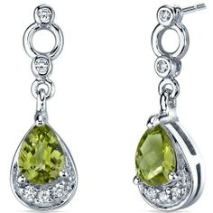 Simply Classy 1.50 Carats Peridot Dangle Earrings in Sterling Silver Rhodium Finish Peora. $29.99. Save 70%!