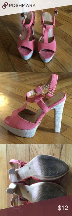 Platforms These have only been worn 1 time, at a wedding. They are pink and straw colored platforms, very comfortable for the height. So cute for summer. City Streets Shoes