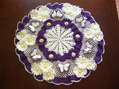 "New Hand Crochet Doily 18"" Round Flowers Pearls Butterflies Purple"