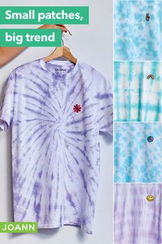 T-shirts don't have to be boring. Think of them as a blank canvas waiting for your creative touch. Try new tie dye techniques, then embellish with a fun patch for another layer of personality. Cool!