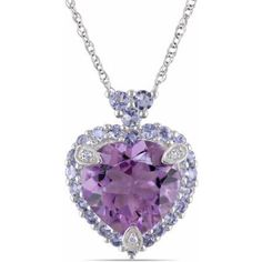 3-4/5 Carat T.G.W. Amethyst and Tanzanite with Diamond Accent 10kt White Gold Halo Heart Pendant, 17 inch, Women's