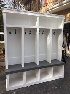 Entryway locker perfect for any mudroom with grey bench