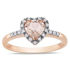 10k Pink Gold Morganite and 1/10ct TDW Diamond Heart Ring