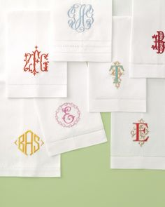 Beautifully monogrammed linens- Bela Lino linen guest towels ($22.00 Featured in The Martha Stewart Magazine, Summer Wedding Edition)