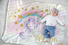 This personalized unicorn baby blanket captures the sweetest moment of your life with the name of your bouncing bundle of joy. Expertly printed onto exquisitely soft fleece, this baby blanket will offer you a unique way to announce your child to the world while also becoming a cherished