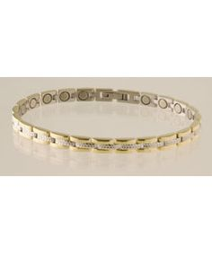 @Overstock - Update any ensemble with this Sabona bracelet  Jewelry is crafted from polished stainless steel and polished 18 karat gold platingWant lots of magnets?  This design has lots of links and a 1200 gauss magnet in each onehttp://www.overstock.com/Health-Beauty/Sabona-Lady-Executive-Regal-Duet-Magnetic-Bracelet/2497705/product.html?CID=214117 $45.99