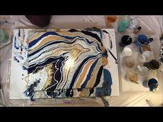 Nikki's First Geode Pour - acrylic pouring glass crystals Acrylic Pouring Techniques, Acrylic Pouring Art, Simple Acrylic Paintings, Acrylic Wall Art, Pour Painting, Diy Painting, Diy Wall Art, Diy Art, Homemade Art