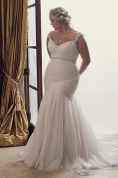 2016 Elegant Plus Size Mermaid Wedding Dresses Ivory Tulle and Blush Lace up Corset Fit and Flare Skirt Cheap Big Beaded Bridal Gowns #weddinggowns
