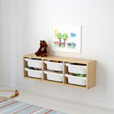 "TROFAST Wall storage, pine light white stained pine, white, 36 5/8x8 1/4x11 3/4"" - IKEA Baby Playroom, Playroom Storage, Cube Storage, Wall Storage, Toy Storage, Storage Boxes, Ikea Kids Storage, Trofast Ikea"