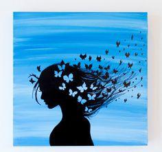 Butterfly Dreams Acrylic on Wood Panel Art Drawings Sketches Simple, Dark Art Drawings, Simple Canvas Paintings, Diy Canvas Art, Beautiful Dark Art, Beautiful Drawings, Oil Pastel Art, Galaxy Painting, Silhouette Art