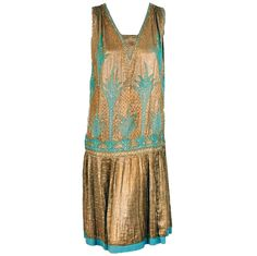 1920's French Metallic-Gold Lame Beaded Pleated Flapper Dress | From a collection of rare vintage evening dresses at https://www.1stdibs.com/fashion/clothing/evening-dresses/