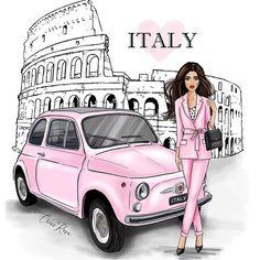 Fashion Illustration Vintage, Travel Illustration, Fashion Illustrations, Glamour Decor, Image Mode, Girl Sketch, Illustrators On Instagram, Italian Girls, Beautiful Drawings
