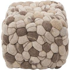 Surya Rug Wool Pouf Cube Ottoman