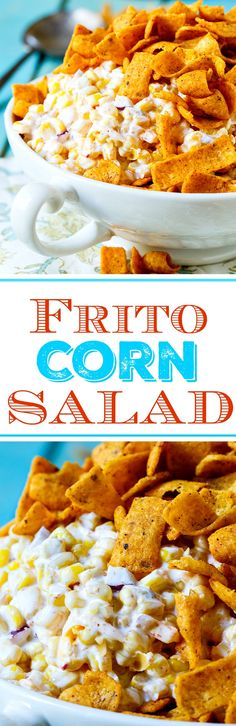 Frito Corn Salad is wonderfully creamy with lots of shredded cheddar cheese and crunchy, salty Frito Corn Chips. Perfect for picnics and potlucks.