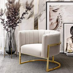 Add a luxurious accent to a living room with this cream velvet armchair in a rich golden frame. Style # at Lamps Plus. Cream And Gold Living Room, Glam Living Room, Living Room Accents, Living Room Chairs, Living Room Decor, Bedroom Decor, Living Area, Bedroom Ideas, Plywood Furniture