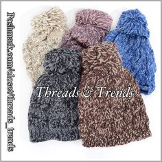 Variegated Knit Beanies Assorted colors of knit beanie hats with a Pom. Colors indigo, mauve, beige, mocha & grey. Pair with solid color scarves. Make the perfect Christmas gift. Threads & Trends Accessories Hats