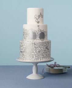 A Silver Graffiti Wedding Cake | Devon Jarvis | blog.theknot.com