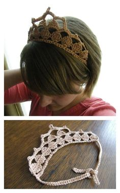 Crochet Headband Crochet Princess Crown Free Pattern - Having your children look like royalty won't be as hard as you thought with these easy Royal Crochet Crown FREE Patterns. They are great for many occasions. Crochet Diy, Crochet Baby Hats, Crochet Gifts, Crochet For Kids, Crochet Headbands, Crochet Princess Hat, Knit Headband, Baby Headbands, Crochet Hair Accessories