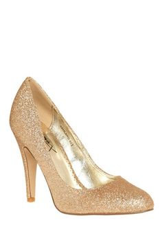 Sparkle an Interest Heel  Sparkly and gold, I couldn't think of a better combination! I love these shoes so much! I really wish I could get them right now. Also, nearly every costumer has said that these are some of the most comfiest heels they've ever owned!  $39.99  #ModCloth