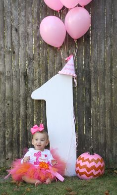 Pink and Orange Fall themed 1st Birthday Party Picture! Great Picture to use for her invitation.