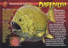 Name: Dapedium Category: Monsters of the Past Card Number: 115 Front: Dapedium Monsters of the Past Card 115 front Back: Dapedium Monsters of the Past Card 115 back Trading Card: Prehistoric World, Prehistoric Creatures, Names Of Dinosaurs, Wild Creatures, Strange Creatures, Mysteries Of The World, Underwater Creatures, Extinct Animals, Dinosaurs