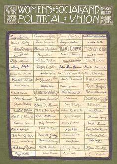 Suffragette banner composed of 80 rectangular pieces of linen sewn together and bordered by green and purple panels. The 80 pieces of linen are embroidered in purple cotton with the signatures of eighty Suffragette hunger-strikers who, by 1910, had 'faced