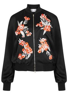 Jonathan Saunders black satin bomber jacket Floral embroidery, raglan sleeves, side pockets, internal pockets, piped and ribbed trims, fully lined Zip fastening through front 83% viscose, 17% wool