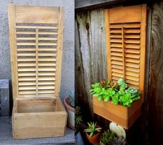 Very Cool Patio Projects Idea Box by DeeDee re purposed box shutter succulent planter, flowers, gardening, repurposing upcycling, succulents Outdoor Projects, Home Projects, Outdoor Decor, Shutter Projects, Shutter Decor, Shutter Door Ideas, Shutter Shelf, Diy Shutters, Repurposed Shutters
