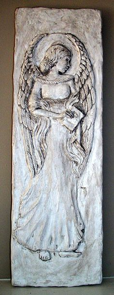 """Wisdom Angel - Original Art - I am starting a series of Serenity Prayer Angels and this is the first one. She is a sister to the Peace Angel Wall Plaque. 6"""" x 18"""" at jjohnsdesigns.com  $35"""