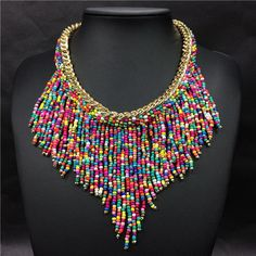 2016 Fashion Jewelry Mujer New Bohemian Necklaces Women Handmade Handwoven Collier Long Tassel Beads Choker Statement Necklaces