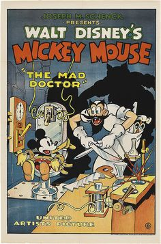 Theatrical poster of Walt Disney's Mickey Mouse in The Mad Doctor.