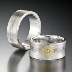 Recycled Silver Wedding Set with Mokume Gane Inlay