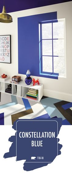 Call Platinum Painting Montreal at to add a bold splash of colour to the interior design of your home with the deep navy hue of Constellation Blue by BEHR® Paint. This modern paint colour pops when used with bright white and vivid orange accent colours. Blue And Yellow Living Room, Blue Rooms, Blue Bedroom, Modern Paint Colors, Behr Paint Colors, Interior Paint, Interior Design, Kids Wall Murals, Orange Bathrooms