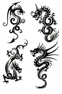 Tribal Chinese Dragon Tattoos