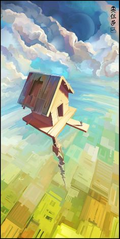 Beautiful #illustration of a house floating in the sky. Concept Art - Under Clouds - k-tim #design