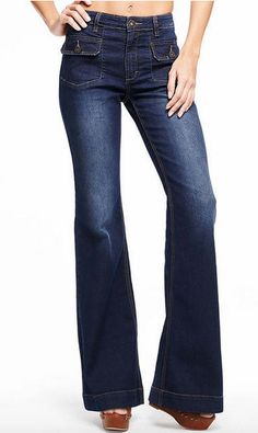 Patch Pocket Flare Jean Stretch high rise flare jean with front patch pockets.	More