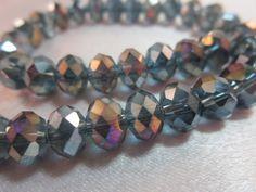 Misty Blue Glass Quartz Crystal Rondelles AB by simplysurina, $3.50 #teamdream #handmadebot #boebot