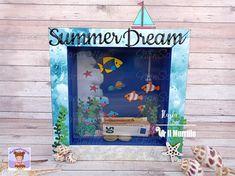 """Progetto di ispirazione per la Challenge di Agosto de Il Murrillo, """"Il Mare"""", realizzato da Ilaria Lenzitti (nonsolocaramelle): un carinissimo salvadanaio. Descrizione competa sul blog. #handmadeideas #salvadanaio #summerdreams #mariannedesign #tropicalfish #lawnfawnmermazing #lawnfawnsmoothsailing Summer Dream, Marianne Design, Challenges, Frame, Blog, Home Decor, Picture Frame, A Frame, Interior Design"""