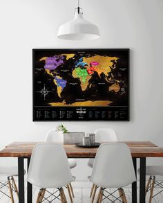 Scratch Your Travels With This Gorgeous Original Watercolor World - Framed scratch world map