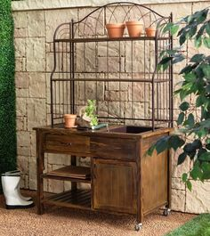 Garden and Patio, Old Potting Bench With Sink And Water Plus Storage On Wheels Plus Metal Top Rack Shelf Ideas ~ Potting Bench with Storage