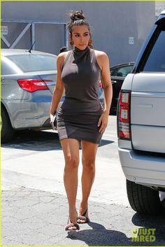 Kim Kardashian wearing Olgana Paris L'Amazone Mink Fur Sandal Brown
