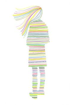 Cool use of colorful lines to create a picture Could do for all elements of art, using the same stencil. Elements And Principles, Elements Of Art, Middle School Art, Art School, Ecole Art, School Art Projects, Art Classroom, Art Club, Art Plastique